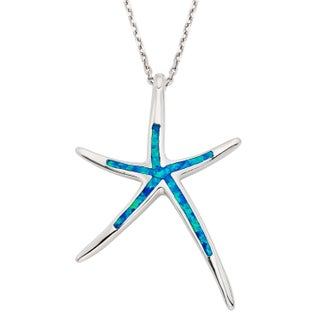 La Preciosa Sterling Silver/Gold Plated/ Rose Gold Created Blue Opal Starfish Necklace (3 options available)