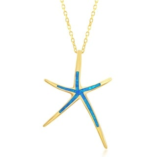 La Preciosa Sterling Silver/Gold Plated/ Rose Gold Created Blue Opal Starfish Necklace (Option: Sterling Silver)