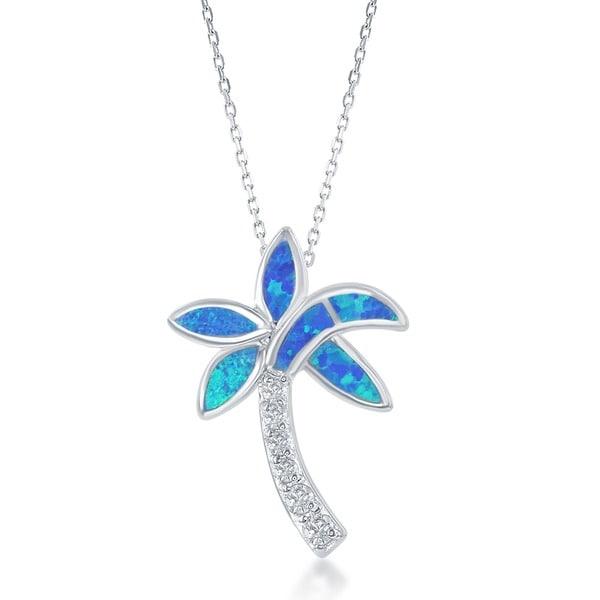 La Preciosa Sterling Silver Created Blue Opal and CZ Palm Tree Necklace