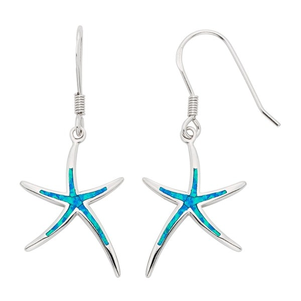 La Preciosa Sterling Silver Created Blue Opal Starfish Earrings