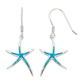 La Preciosa Sterling Silver/Gold Plated/ Rose Gold Created Blue Opal Starfish Earrings