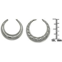 Carolina Glamour Collection Stainless Steel Polished 2-pair Crescent Hoop Earring Set - Thumbnail 2