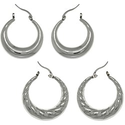 Carolina Glamour Collection Stainless Steel Polished 2-pair Crescent Hoop Earring Set