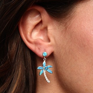 Link to La Preciosa Sterling Silver Created Blue Opal and CZ Palm Tree Earrings Similar Items in Earrings