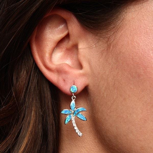 La Preciosa Sterling Silver Created Blue Opal and CZ Palm Tree Earrings