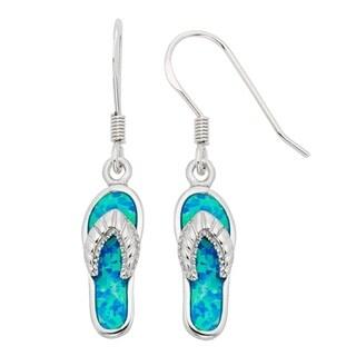 La Preciosa Sterling Silver Created Blue Opal Flip Flop Earrings