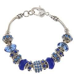 La Preciosa Silvertone Blue Crystal Bead Charm Bracelet