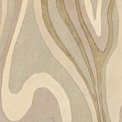 Hand-tufted Ivory Tahra Abstract Waves Wool Rug (2' x 3') - Thumbnail 2