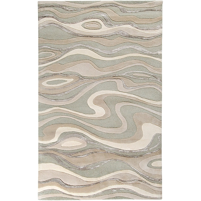 Hand-tufted Ivory Tahra Abstract Waves Wool Rug (2' x 3')