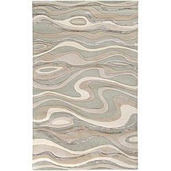 Hand-tufted Ivory Tahra Abstract Waves Wool Area Rug (2' x 3') - 2' x 3' - Thumbnail 0