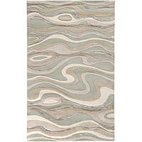 Hand-tufted Ivory Tahra Abstract Waves Wool Area Rug (2' x 3') - 2' x 3'