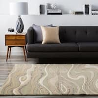 Hand-tufted Ivory Tahra Abstract Waves Wool Area Rug - 2' x 3'