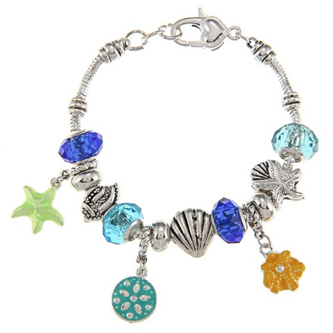 La Preciosa Silvertone Multi-colored Sealife Bead Charm Bracelet
