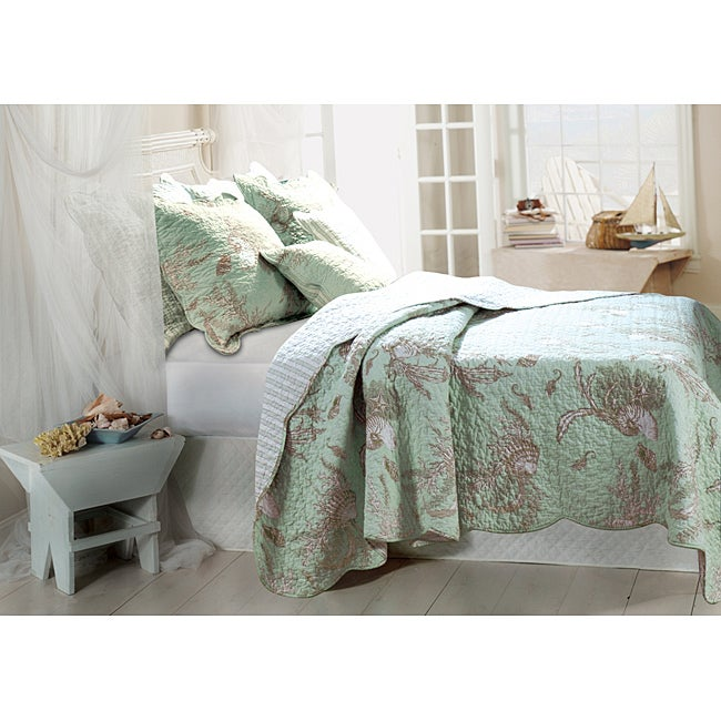 Greenland Home Fashions Bora Bora 3-piece Quilt Sham and Pillow Set