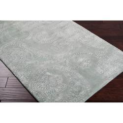 Hand-tufted Silver Sage Manheim Paisley Print Wool Rug (3'3 x 5'3) - Thumbnail 1