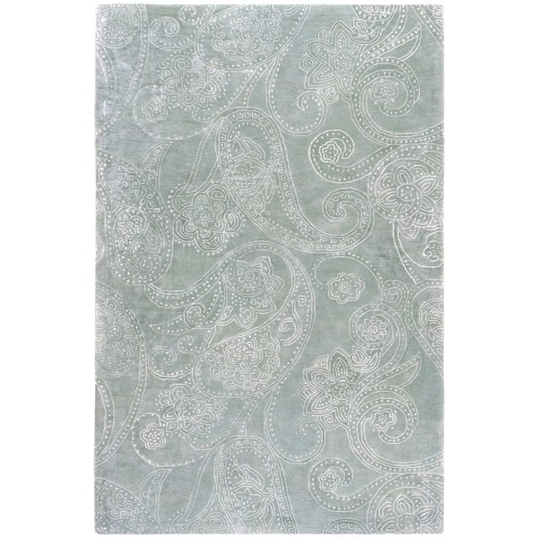 "Hand-tufted Silver Sage Manheim Paisley Print Wool Area Rug - 3'3"" x 5'3"""