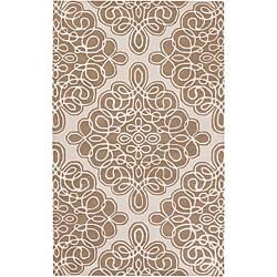Hand-tufted Cream Coburg Geometric Pattern Wool Area Rug - 2'6 x 8' - Thumbnail 0