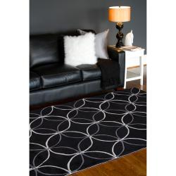 Hand-tufted Contemporary Buning Black Geometric Abstract Rug (2' x 3') - Thumbnail 2