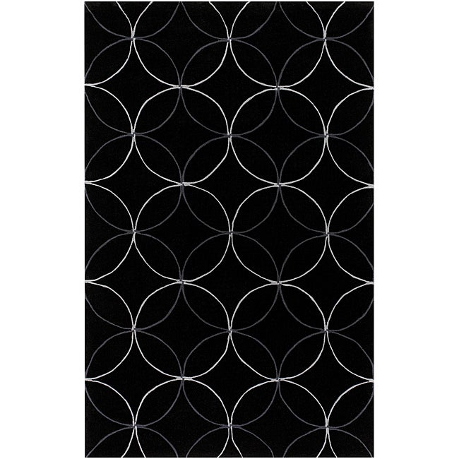 Hand-tufted Contemporary Buning Black Geometric Abstract ...