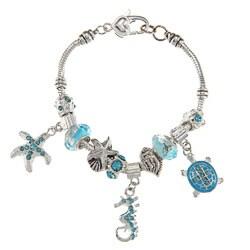 La Preciosa Silvertone Light Blue Crystal Sea Life Design Bead Bracelet