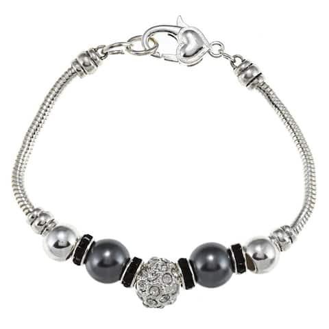 La Preciosa Silverplated Gray Faux Pearl and Crystal Charm Bracelet