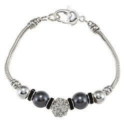 La Preciosa Silverplated Gray Faux Pearl and Crystal Charm Bracelet