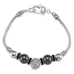 La Preciosa Silverplated Gray Faux Pearl and Crystal Charm Bracelet https://ak1.ostkcdn.com/images/products/6506311/La-Preciosa-Silverplated-Gray-Faux-Pearl-and-Crystal-Charm-Bracelet-P14094922.jpg?impolicy=medium