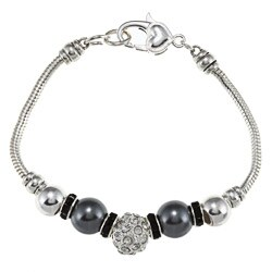 La Preciosa Silverplated Grey Faux Pearl and Crystal Charm Bracelet