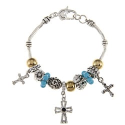 La Preciosa Silvertone Gold and Blue Bead Cross Charm Bracelet
