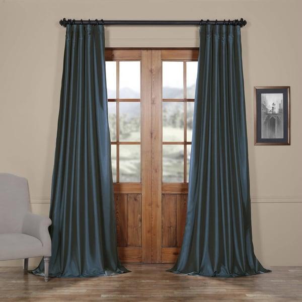 Exclusive Fabrics Solid Faux Silk Taffeta Navy Blue Curtain Panel ...