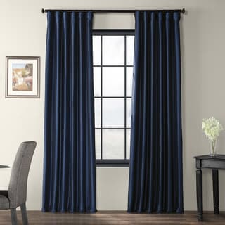 EFF Solid Faux Silk Taffeta Navy Blue Curtain Panel (As Is Item)