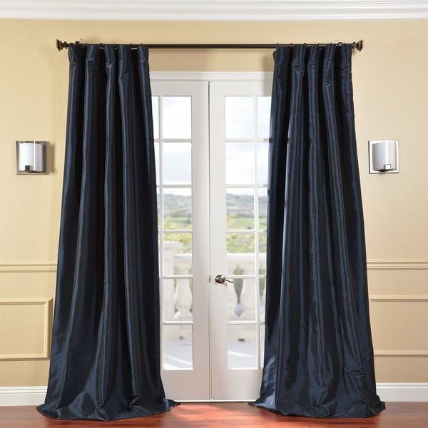 Exclusive Fabrics Solid Faux Silk Taffeta Navy Blue 84-inch Curtain Panel