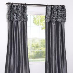 Exclusive Fabrics Ruched Header Graphite Faux Silk Taffeta 84-inch Curtain Panel