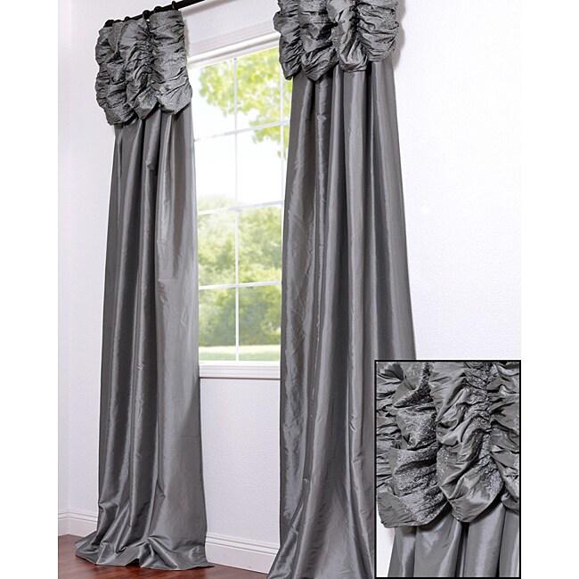 Exclusive Fabrics Ruched Header Platinum Faux Silk Taffeta 96-inch Curtain Panel