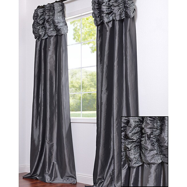 Exclusive Fabrics Ruched Header Graphite Faux Silk Taffeta 120-inch Curtain Panel