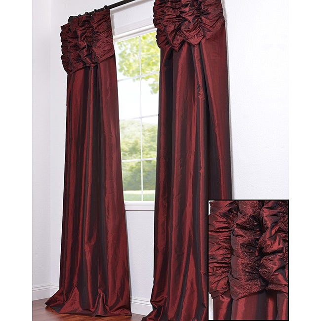 Exclusive Fabrics Ruched Header Syrah Faux Silk Taffeta 108-inch Curtain Panel