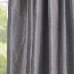 Exclusive Fabrics Ruched Header Platinum Faux Silk Taffeta 108-inch Curtain Panel