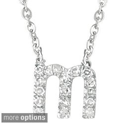 Sterling Silver Diamond Accent Letter Initial Necklace (More options available)