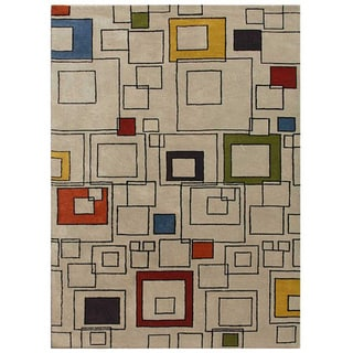 Hand-tufted White Wool Rug (5' x 8')