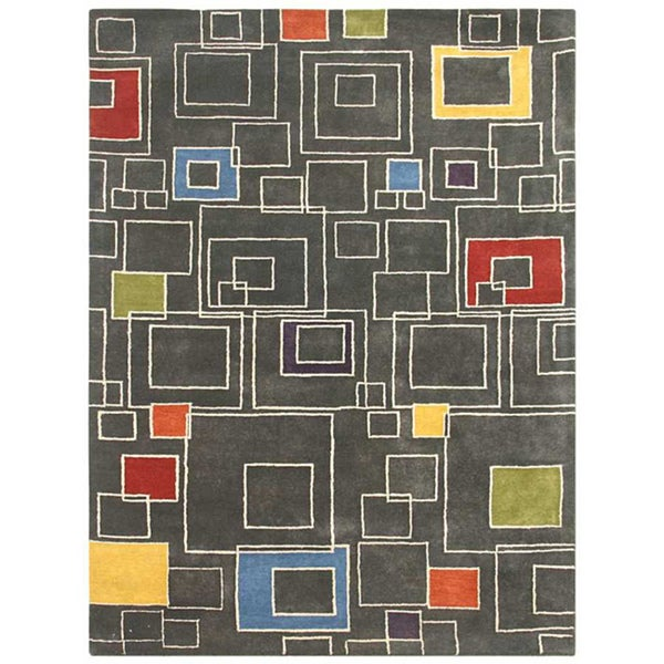 Large Hand-Tufted Gray Wool Rug (8' x 11')Hand-Tufted Gray Wool Rug (8' x 11')