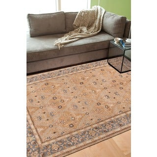Raja Handmade Medallion Tan/ Blue Area Rug (2' X 3')