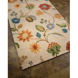 Hand-Tufted White Floral Wool and Art Silk Area Rug (9'6 X 13'6) - Thumbnail 1