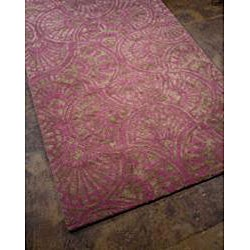 Abstract Contemporary Purple/Brown Hand-Tufted Wool & Art Silk Rug (8' x 11') - Thumbnail 1