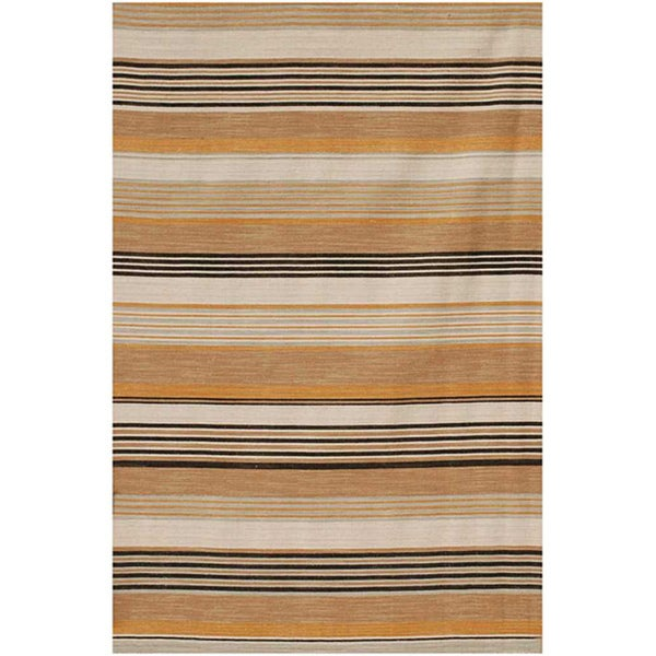 Flat Weave Striped Peach Wool Rug (9' x 12')