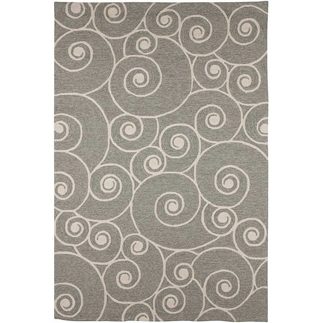 Hand Hooked Grey Contemporary Area Rug 3 6 X 5 6