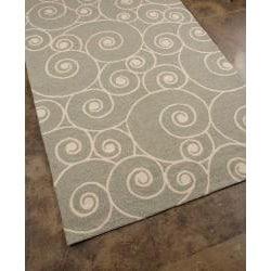 Hand-hooked Grey Abstract Area Rug (7'6 x 9'6) - Thumbnail 1