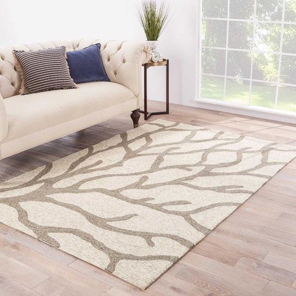 "Coronado Indoor/ Outdoor Abstract White/ Gray Area Rug (3'6"" X 5'6"")"