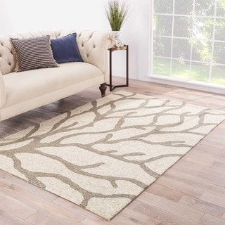 Havenside Home Nantucket Indoor/ Outdoor Abstract White/ Grey Area Rug (5' x 7'6) - Thumbnail 0