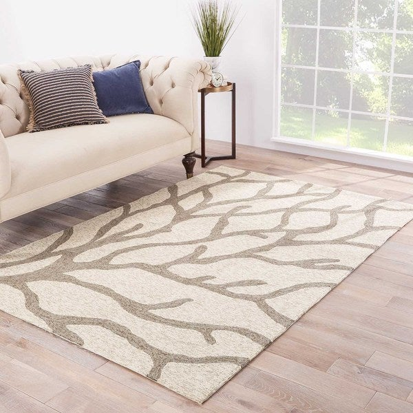 Havenside Home Nantucket Indoor/ Outdoor Abstract White/ Grey Area Rug - 7'6 x 9'6