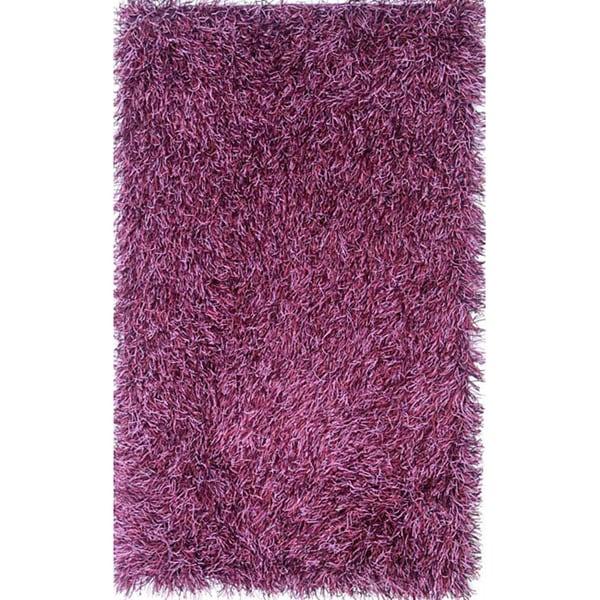 Hand-woven Purple Shag Rug (5' x 8')